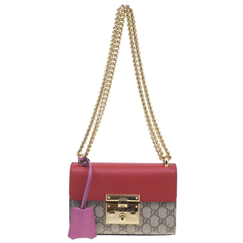 1f494608091d ... Gucci Red and Pink Leather Monogram Canvas GG Small Padlock Supreme Shoulder  Bag. nextprev. prevnext