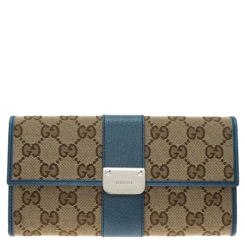 3de504cb2615 ... Gucci Beige Guccissima Canvas and Blue Trim Continental Wallet.  nextprev. prevnext