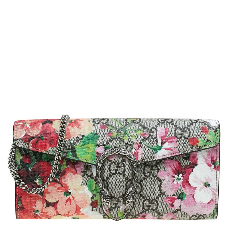 7870051bc3a Buy Gucci Beige GG Supreme Canvas Dionysus Blooms Print Wallet on ...