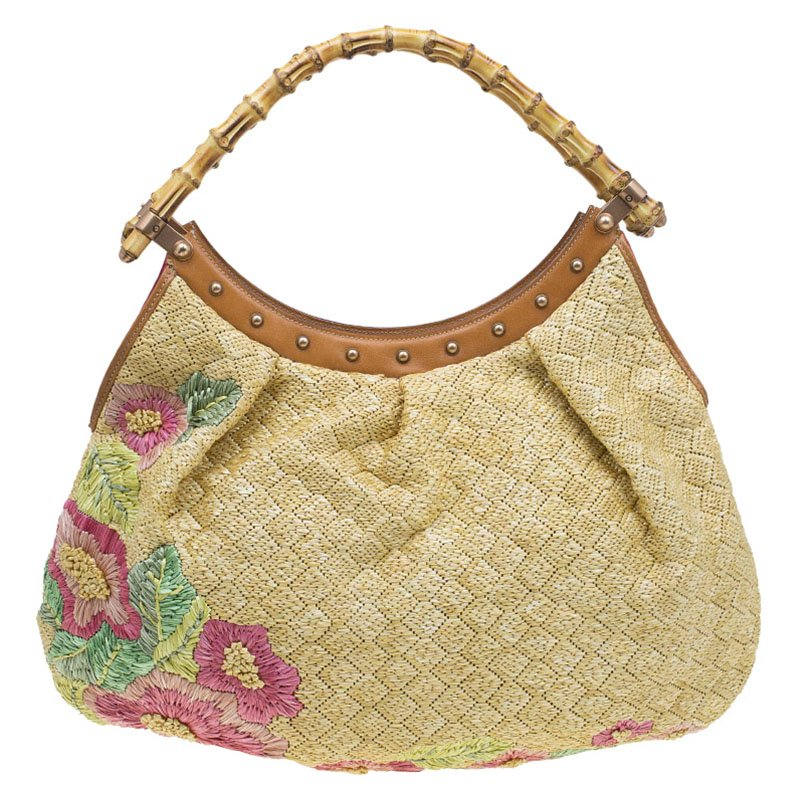 b6da9969189 Buy Gucci Beige Raffia Floral Print Bamboo Hobo 79496 at best price ...