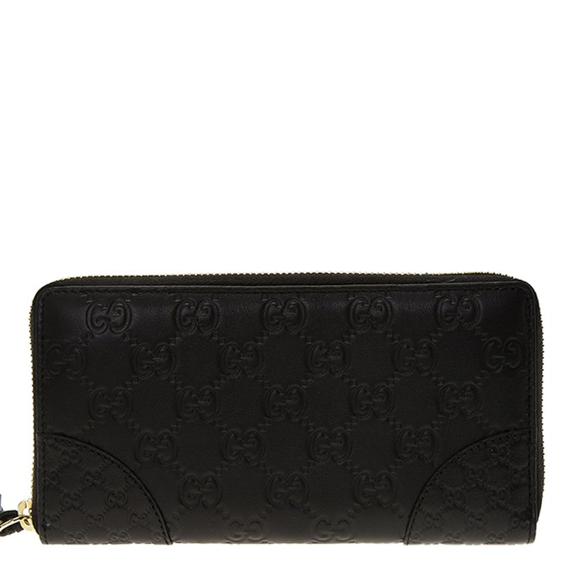 2cea83977b3499 Buy Gucci Black Guccissima Leather Bree Zip Around Wallet 80567 at ...