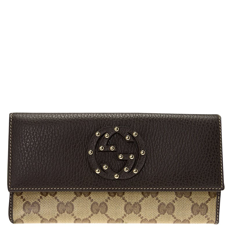 4c04a398aa18 ... Gucci Brown Leather GG Crystal Studded Interlocking GG Continental  Wallet. nextprev. prevnext