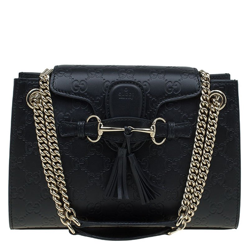 10428950f5c ... Gucci Black Guccissima Leather Small Emily Chain Shoulder Bag.  nextprev. prevnext
