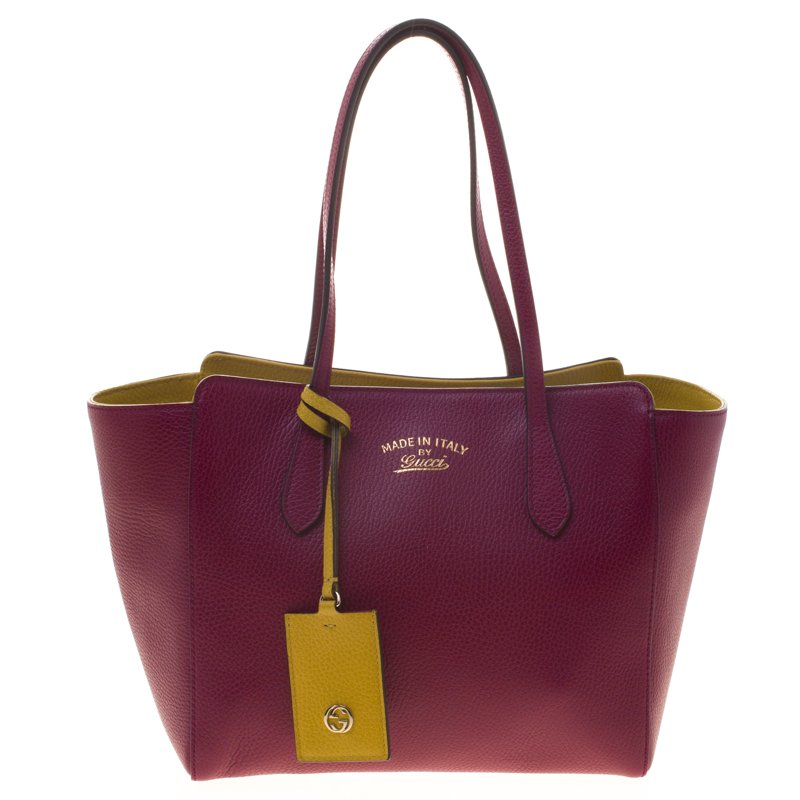 31a706cbb2eb3a Buy Gucci Bordeaux Leather Small Swing Tote 96524 at best price | TLC