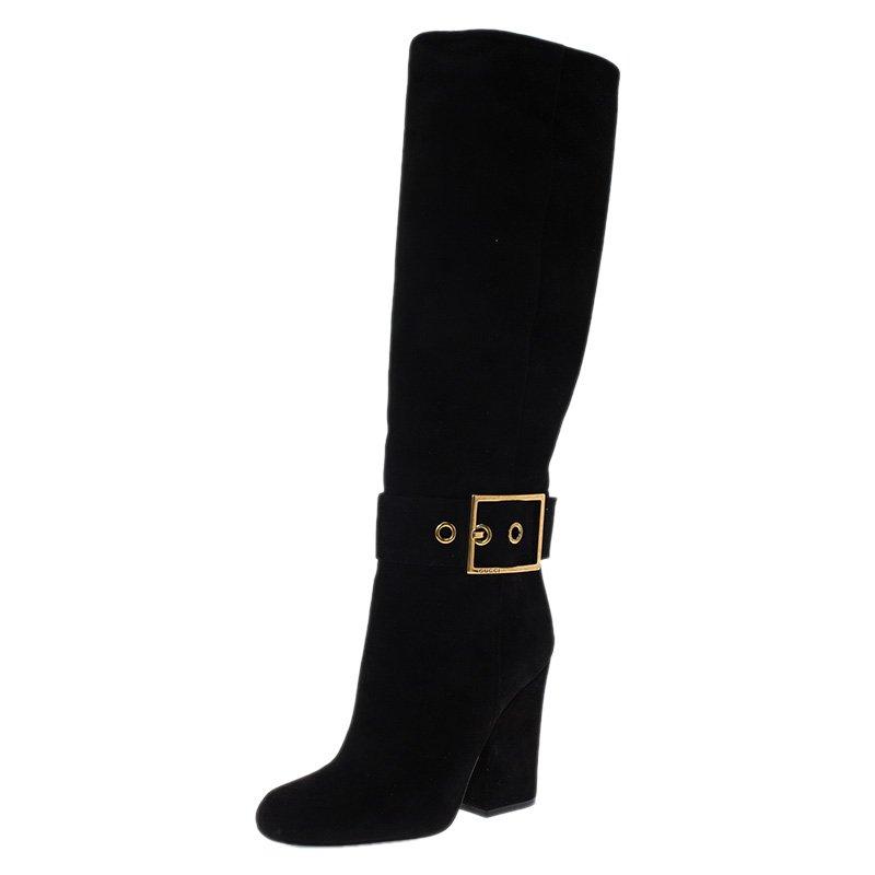 Gucci Black Suede Kesha Block Heel Knee Boots Size 37