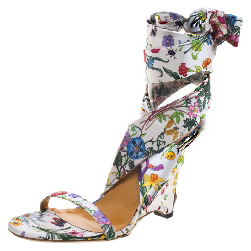 5e63f195b ... Gucci Floral Printed Satin Ankle Strap Wedge Sandals Size 38.5.  nextprev. prevnext