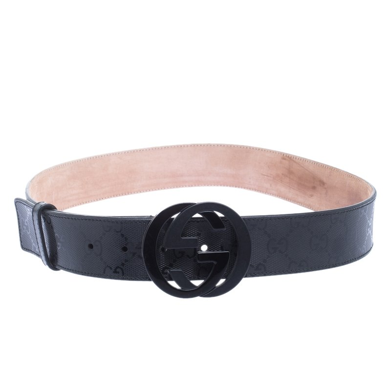17d50599d ... Gucci Black Imprime Canvas Interlocking G Buckle Belt 85 CM. nextprev.  prevnext