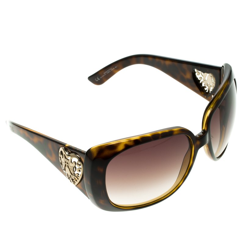 9c76fdcd92 Buy Gucci Brown Tortoise GG 3057 S Heart Crest Rectangle Sunglasses ...