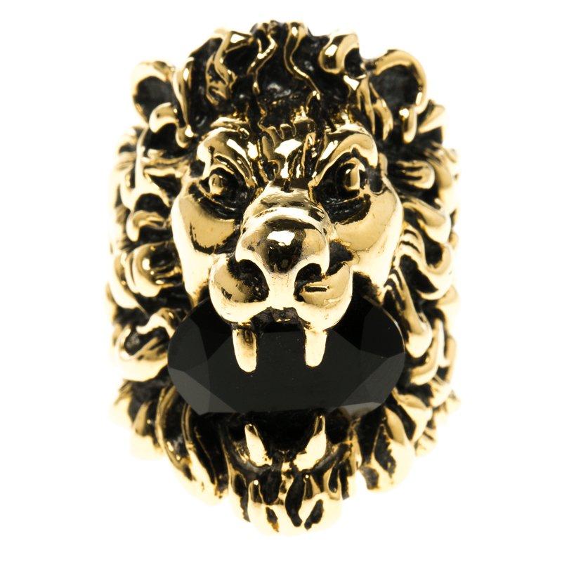 bec864762e9 ... Gucci Black Crystal Lion Head Gold Tone Ring Size 56. nextprev. prevnext