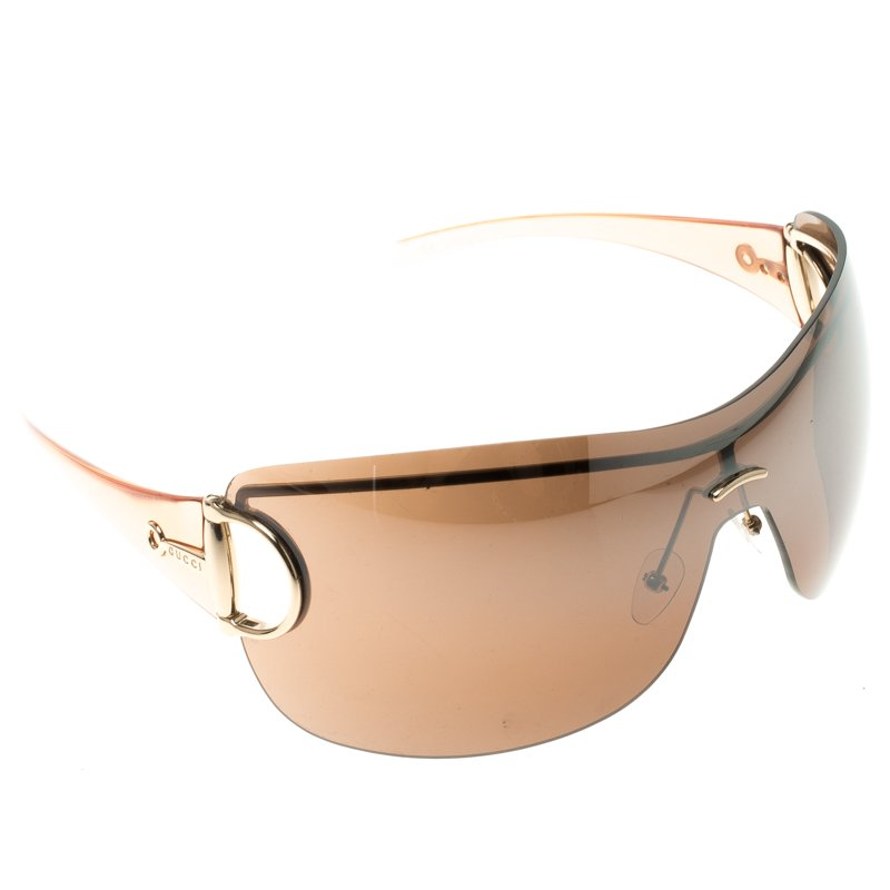1852865972 Buy Gucci Brown GG 2711 S Horsebit Shield Sunglasses 106915 at best ...