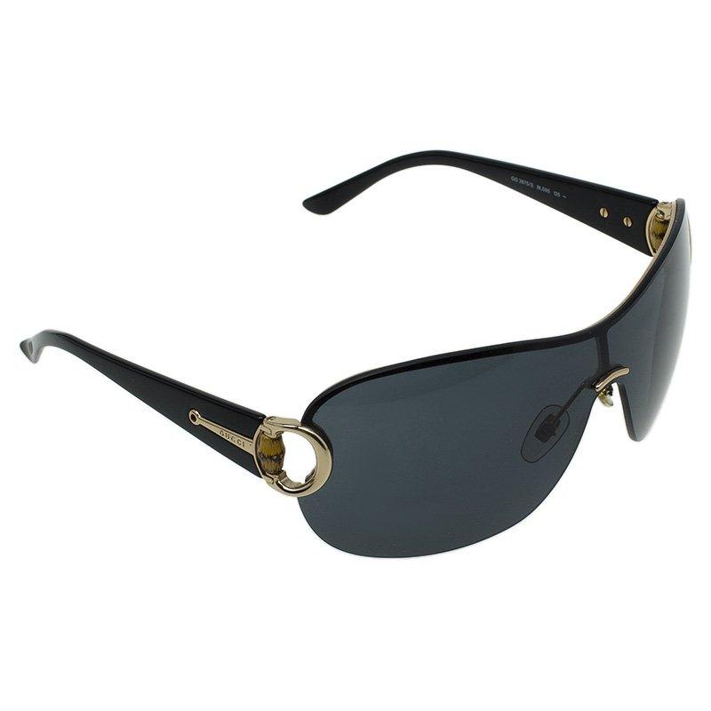 Gucci Black Bamboo Detail GG2875/S Shield Sunglasses