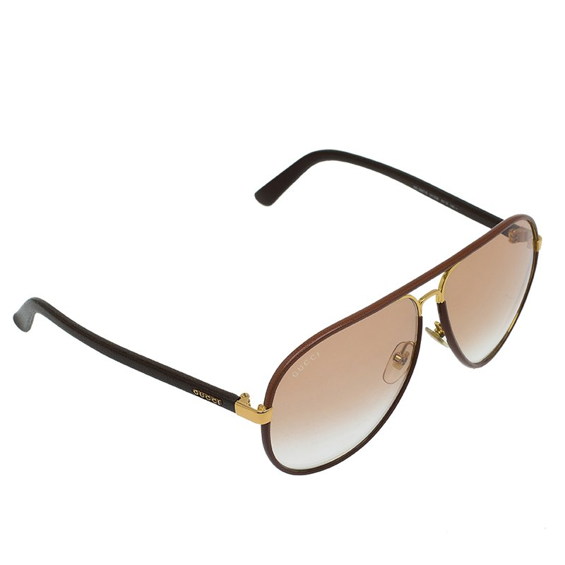 a0b10133656 ... Gucci Brown Leather and Gold GG 2887 S Aviator Sunglasses. nextprev.  prevnext