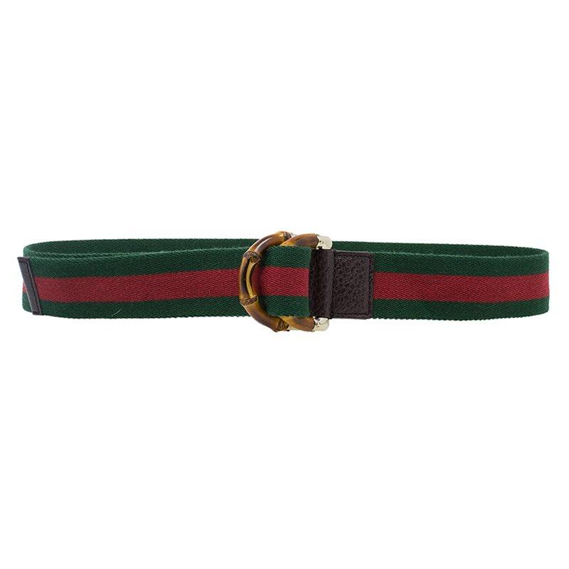 Gucci Web Detail Bamboo Buckle Belt 85 CM