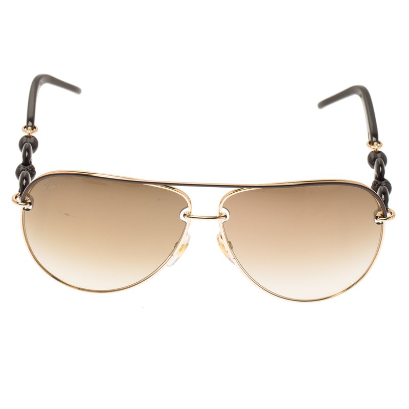 70679f61c182d ... Gucci Brown and Rose Gold Tone GG 4225 S Chain Link Aviators. nextprev.  prevnext