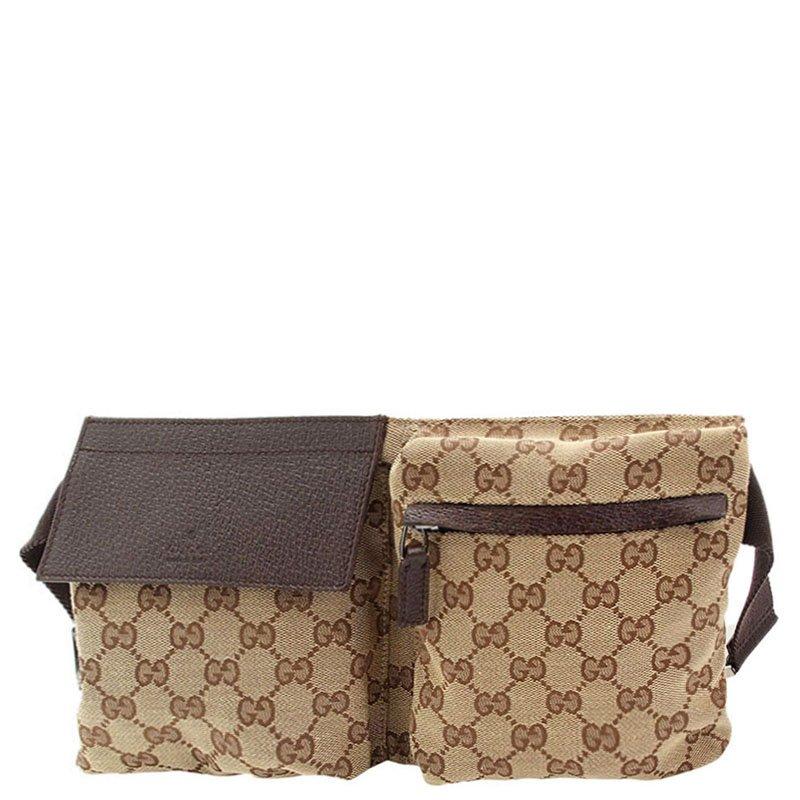 9a6b140adc194 Buy Gucci Beige Ebony GG Canvas Waist Belt Bag 84291 at best price