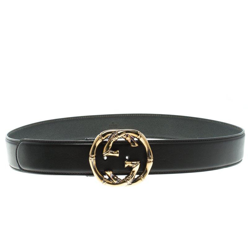 b4501ef35e4 ... Gucci Black Leather Bamboo Engraved Interlocking G Buckle Belt 95 CM.  nextprev. prevnext