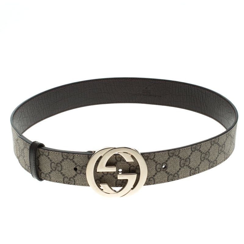 7d5327a53 Buy Gucci Beige GG Supreme Canvas Interlocking G Buckle Belt 85 CM ...
