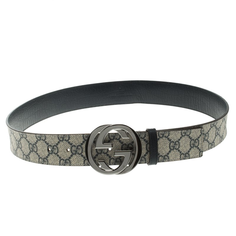 46301ffa2a8 ... Gucci Blue GG Supreme Canvas Interlocking G Buckle Belt 90 CM.  nextprev. prevnext