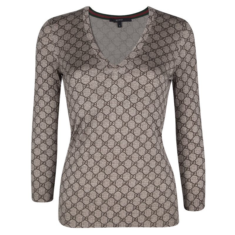 9eed585ce09 Buy Gucci Brown GG Logo Long Sleeve V Neck Sweater S 105058 at best ...