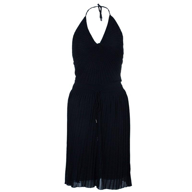 Gucci Black Halterneck Chiffon Dress S