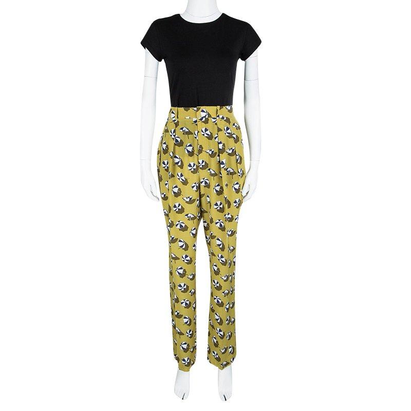 Gucci Green Silk Beach Umbrella Print High Waist Trousers M