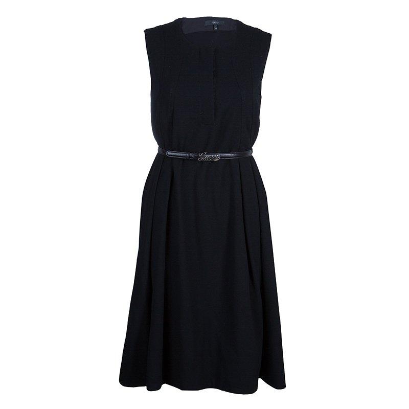 c097315f1 Buy Gucci Black Belted A Line Dress L 53954 at best price | TLC