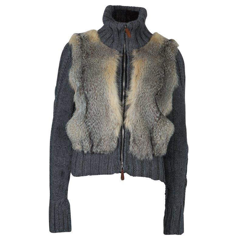 f21b153a3703 Buy Gucci Grey Camel Wool Fox Fur Trim Zip Front Sweater S 59702 at ...