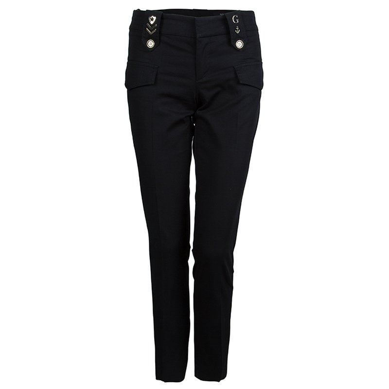 Gucci Black Straight Fit Cotton Trousers S
