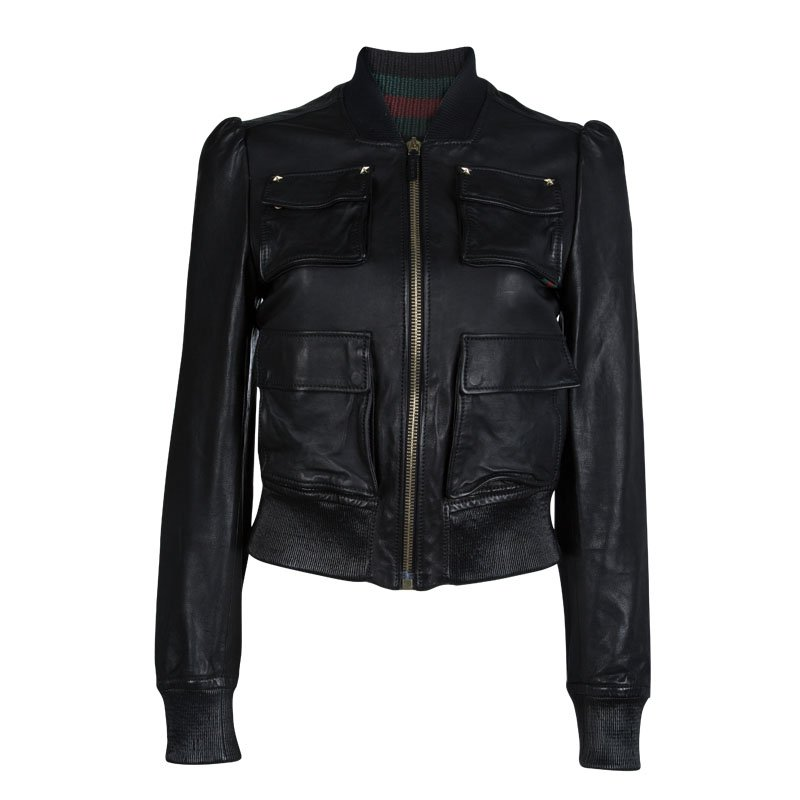 a29752682c5 Buy Gucci Black Leather Bomber Jacket S 71210 at best price