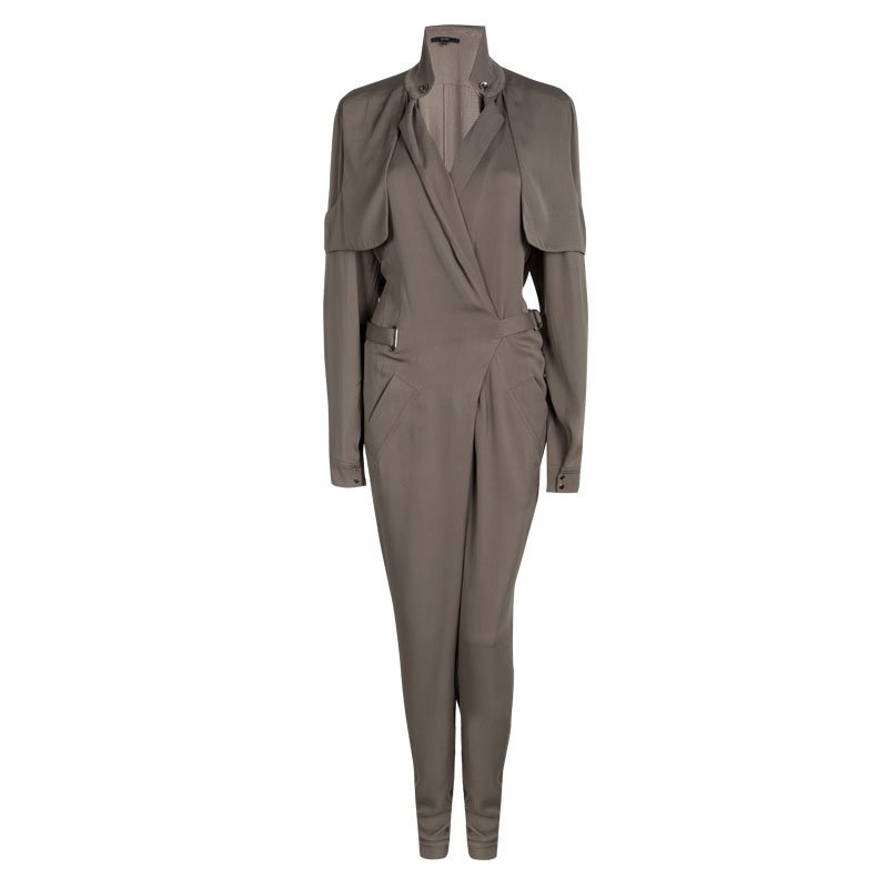 Gucci Brown Silk Belted Long Sleeve Jumpsuit M