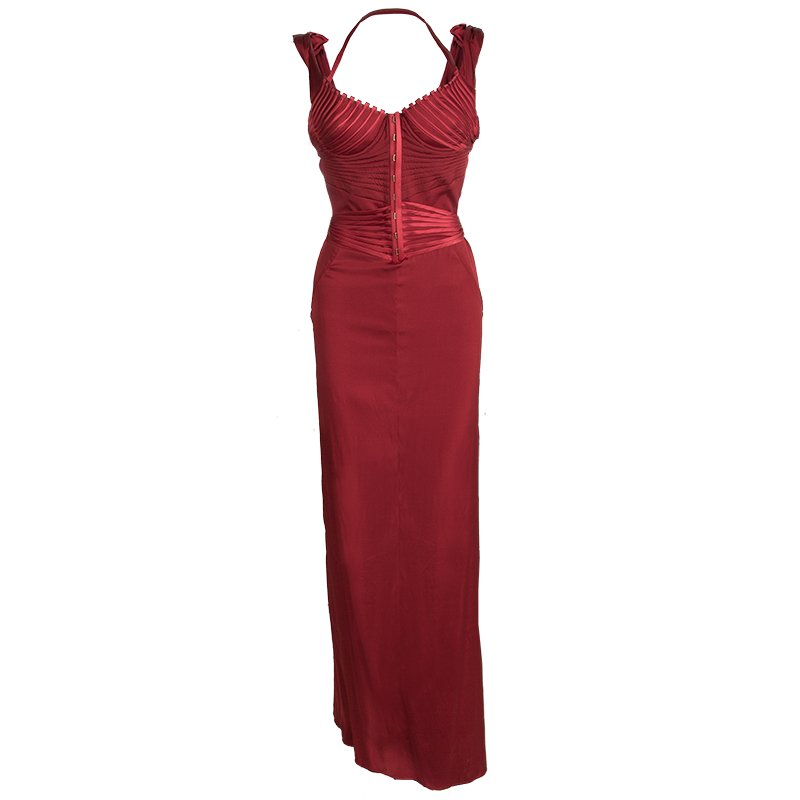 Iconic Tom Ford For Gucci Editorial Red Corset Silk Gown M