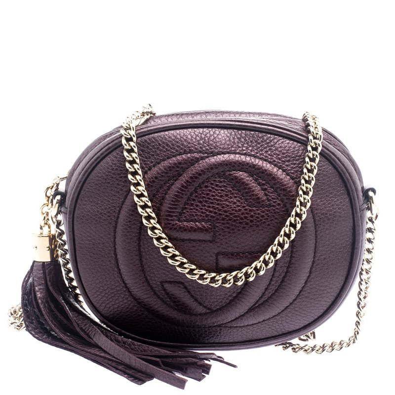 ffe853e4bb20 ... Gucci Metallic Purple Leather Mini Soho Disco Chain Shoulder Bag.  nextprev. prevnext