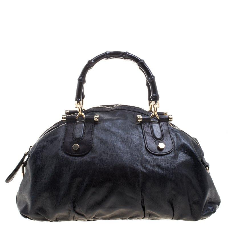 b6bf0b21fc Gucci Black Leather Pop Bamboo Top Handle Bag