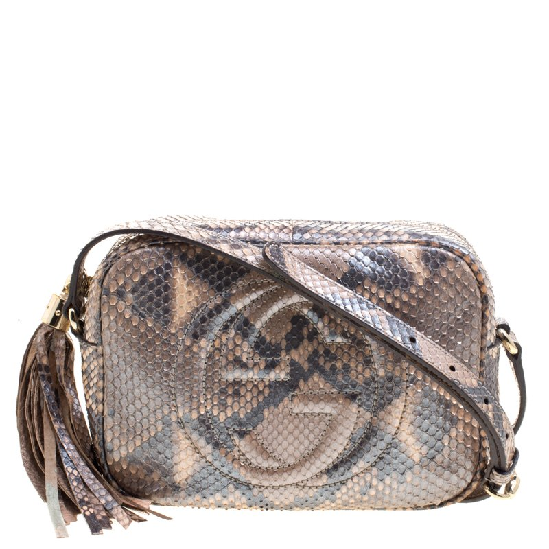 3818faae4e1 Buy Gucci Metallic Beige Python Small Soho Disco Shoulder Bag 102492 ...