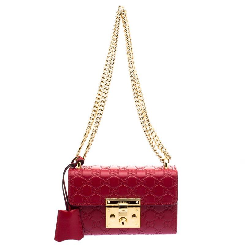 03be6a126862e7 ... Gucci Red Guccissima Leather Small Padlock Shoulder Bag. nextprev.  prevnext