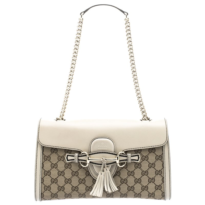 19203379edf6 ... Gucci Beige GG Canvas/Leather Medium Emily Chain Shoulder Bag.  nextprev. prevnext