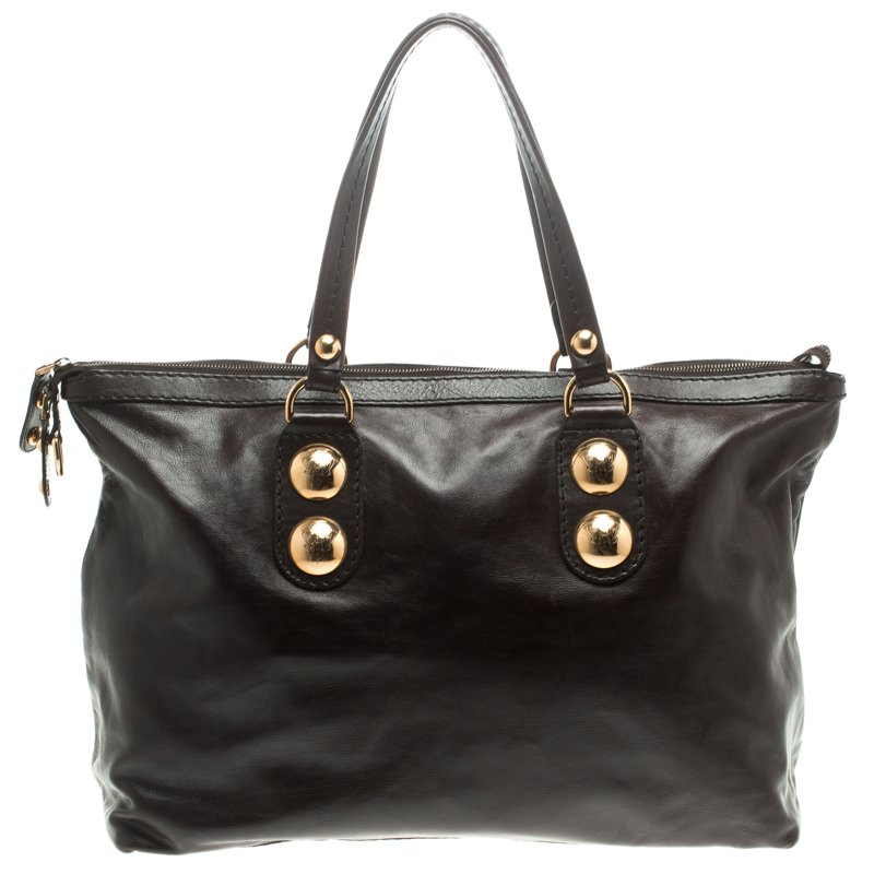 223620b9637 Buy Gucci Dark Brown Leather Babouska Tote 104751 at best price