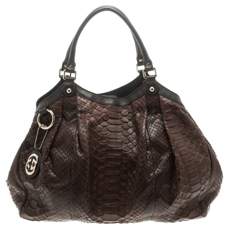Gucci Dark Brown Python Large Sukey Tote Nextprev Prevnext