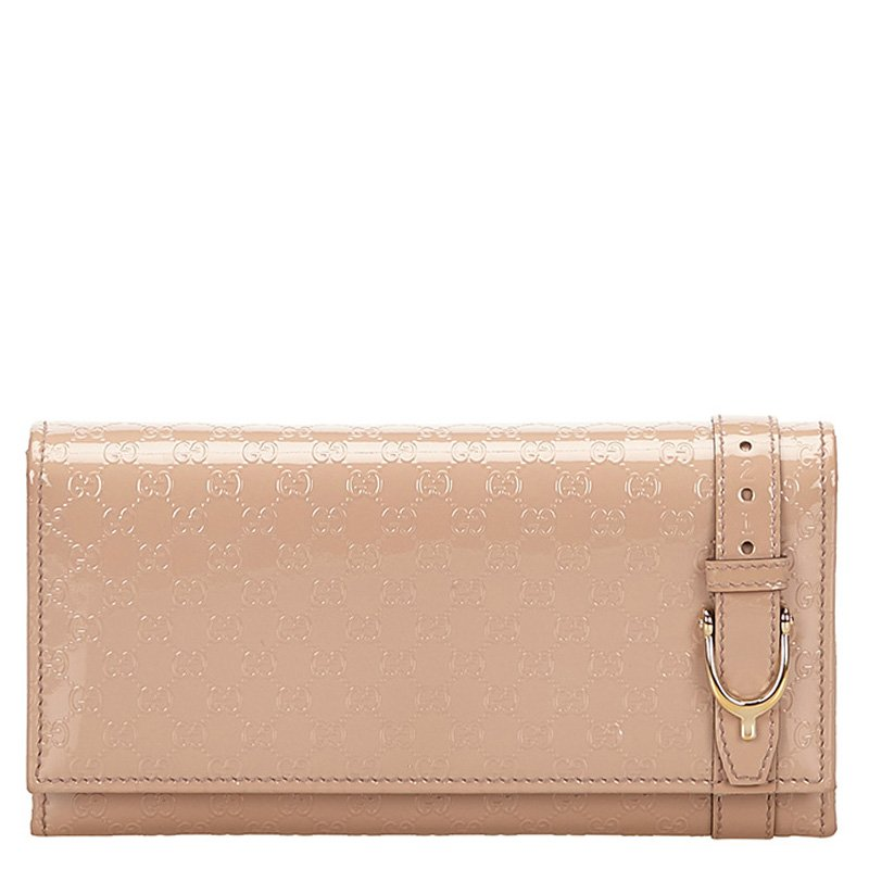 3518cc76548 ... Gucci Blush Pink Patent Microguccissima Leather Continental Wallet.  nextprev. prevnext