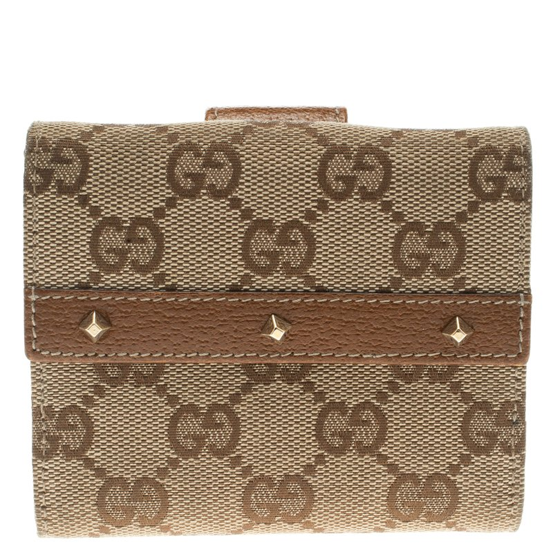 Gucci Beige/Brown GG Canvas Nailhead Compact Wallet