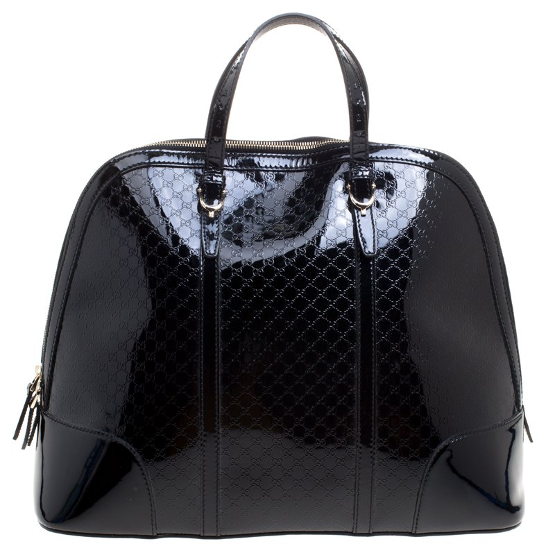 6f2ae6aef52 ... Gucci Black Microguccissima Patent Leather Large Nice Top Handle Bag.  nextprev. prevnext