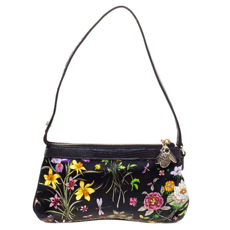 Buy Gucci Black Floral Print Satin Cham Pochette 106236 at best ...