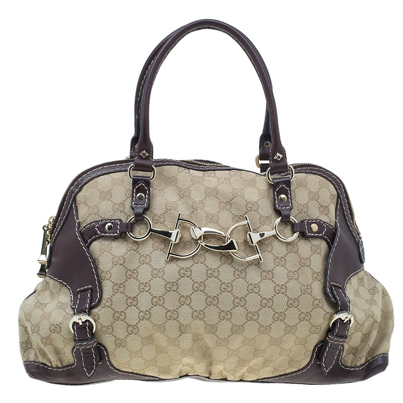 254f6c9ece0b0 Buy Gucci Brown Monogram Canvas and Leather Medium Horsebit Nail Bag ...