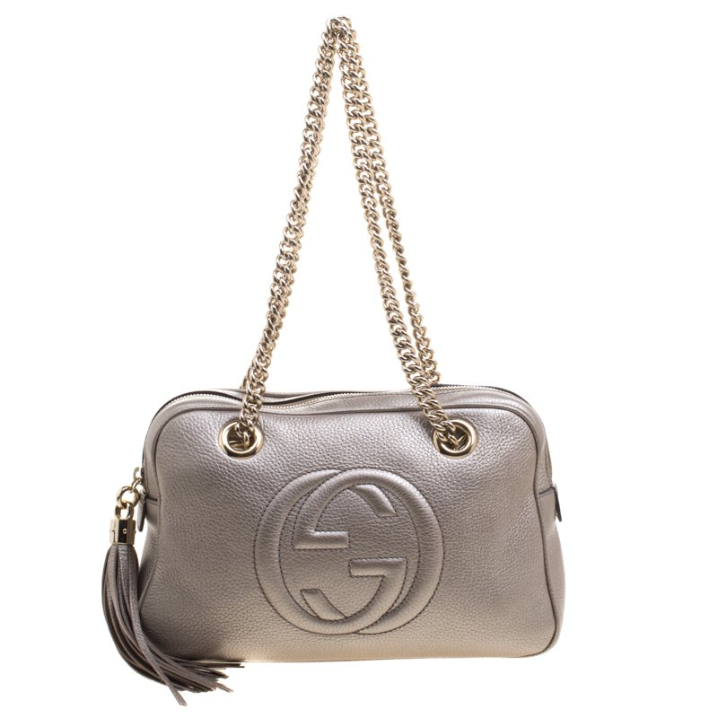 e22dab42f25 ... Gucci Metallic Grey Leather Medium Soho Chain Shoulder Bag. nextprev.  prevnext