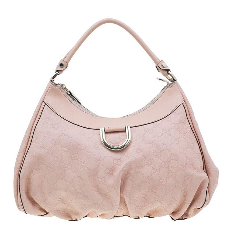 6163a6f46e2 ... Gucci Pink Guccissima Leather D Ring Large Hobo Bag. nextprev. prevnext