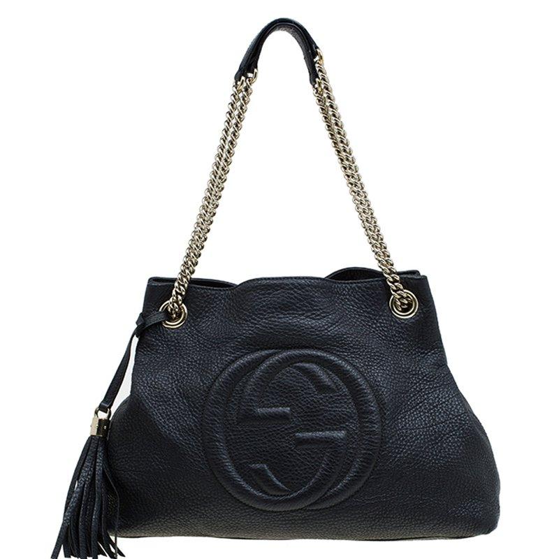 72e34bcdc39 ... Gucci Black Pebbled Leather Medium Soho Tote. nextprev. prevnext