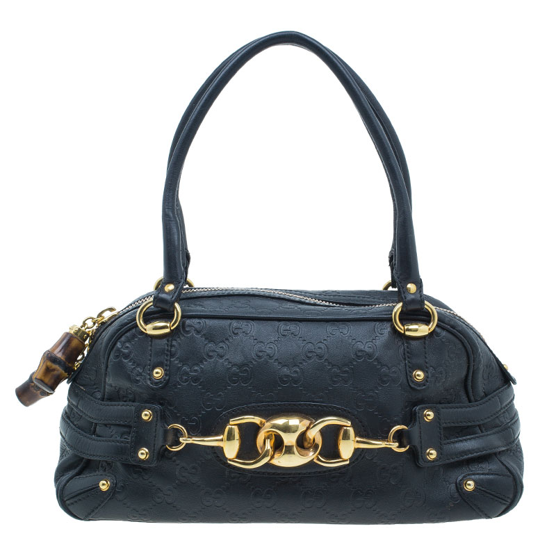 Gucci Black Leather Guccissima Wave Boston Bag