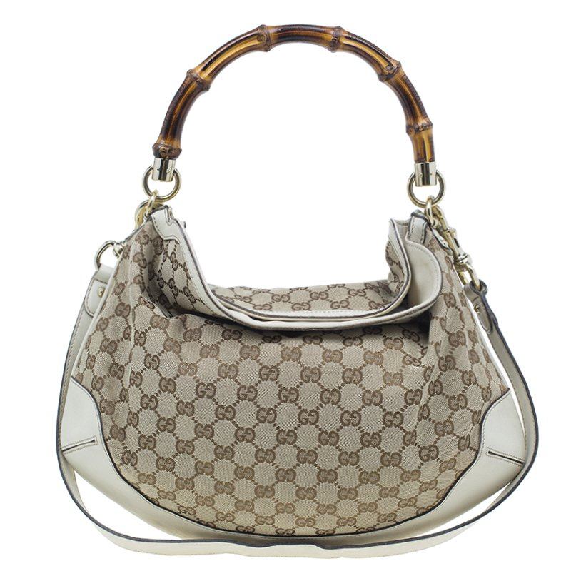 b7c183041f51 Buy Gucci Beige Monogram Canvas Bamboo Handle Hobo Bag 1390 at best ...