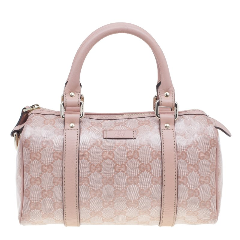 9ac4b32da3 ... Gucci Pink Crystal Coated Canvas GG Small Joy Boston Bag. nextprev.  prevnext