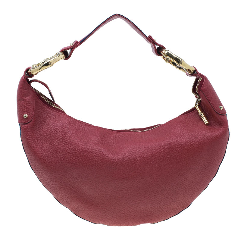 a6b1cdf95e6fe Gucci Red Pebbled Leather Half Moon Bamboo Ring Hobo Bag
